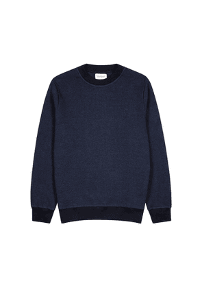 Oliver Spencer Robin Navy Waffle-knit Cotton Sweatshirt