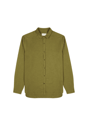 Oliver Spencer Clerkenwell Olive Brushed Cotton Shirt