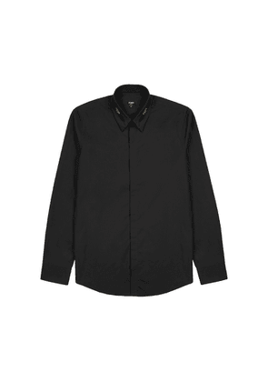 Fendi Black Logo-trimmed Poplin Shirt