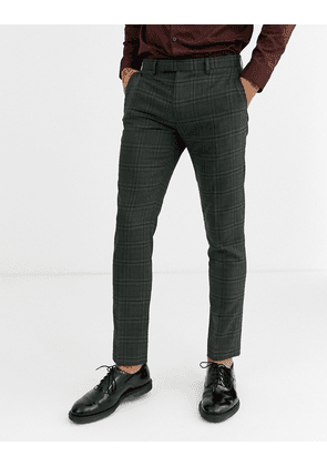 Rudie heritage check skinny fit suit trousers-Green