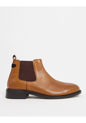 Dune wide fit cranbrey chelsea boots in tan leather