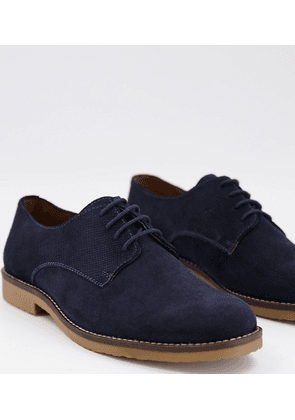 Dune wide fit formal lace up derby shoes in navy suede