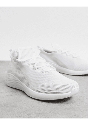 ASOS DESIGN knitted runner trainers in white