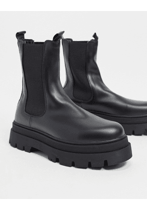 Bershka chunky Chelsea boot in black