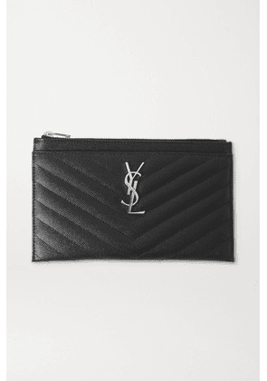 SAINT LAURENT - Monogramme Quilted Textured-leather Pouch - Black