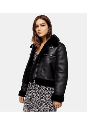 Topshop Petite faux leather aviator jacket in black
