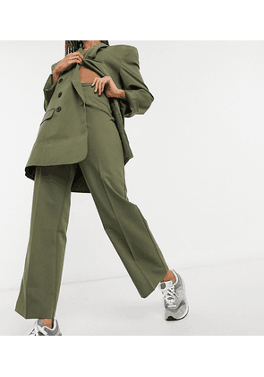 COLLUSION straight leg trousers in olive green