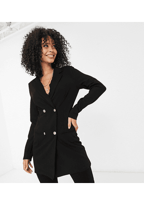 ASOS DESIGN Tall glam double breasted jersey blazer in black