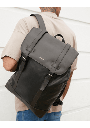 ASOS DESIGN backpack in black leather with double straps
