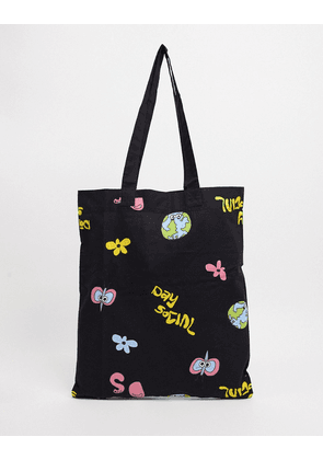 ASOS Daysocial tote bag in black organic cotton with print