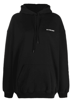 Balenciaga logo print medium fit hoodie - Black