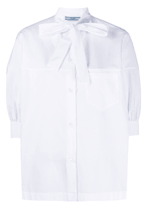 Prada pussy-bow puff-sleeve blouse - White