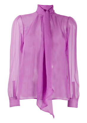 Saint Laurent pussy-bow sheer silk blouse - Purple