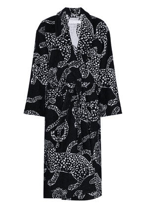 Desmond & Dempsey jaguar-print cotton robe - Black