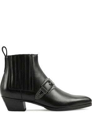 Gucci buckle strap ankle boots - Black