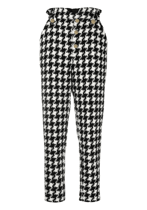 Amen houndstooth-print cropped trousers - Black