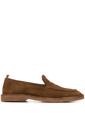 Buttero almond-toe leather loafers - Brown