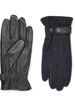 DENTS - Flannel and Leather Gloves - Men - Blue - M