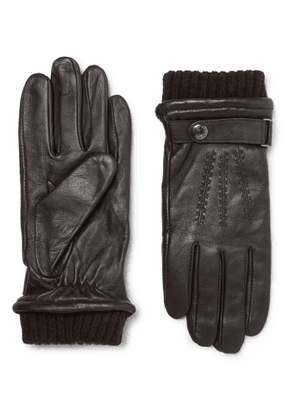 Dents - Henley Leather and Wool-Blend Tech Gloves - Men - Brown - M