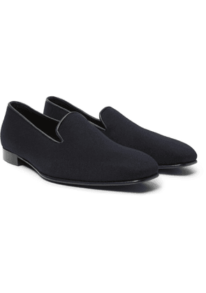 Anderson & Sheppard - George Cleverley Leather-Trimmed Cashmere Slippers - Men - Blue