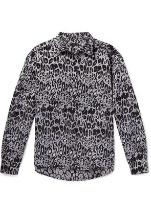 99%IS- - Leopard-Jacquard Shirt - Men - Purple