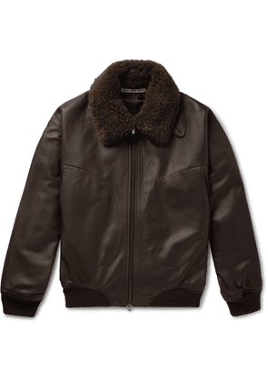 Connolly - Goodwood Shearling-Trimmed Leather Jacket - Men - Brown