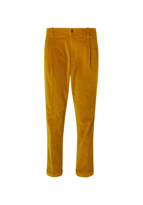 Connolly - Goodwood Tapered Cropped Pleated Cotton-Corduroy Trousers - Men - Yellow