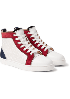 CHRISTIAN LOUBOUTIN - Louis Orlato Suede, Leather and Denim High-Top Sneakers - Men - White
