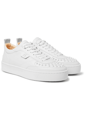 CHRISTIAN LOUBOUTIN - Happyrui Spiked Leather Sneakers - Men - White