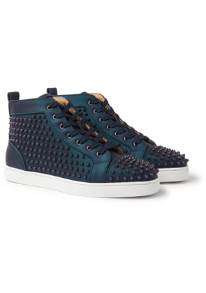 CHRISTIAN LOUBOUTIN - Louis Orlato Spikes Iridescent Leather High-Top Sneakers - Men - Blue