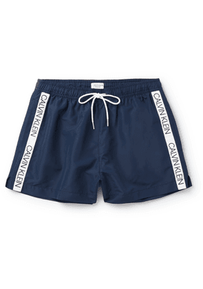 Calvin Klein Underwear - Short-Length Logo Jacquard-Trimmed Swim Shorts - Men - Blue
