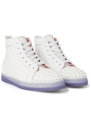 CHRISTIAN LOUBOUTIN - Lou Spikes 2 Embossed Leather High-Top Sneakers - Men - White