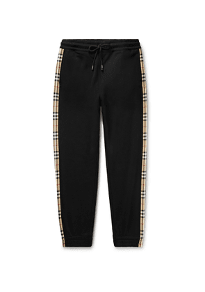 BURBERRY - Tapered Checked Loopback Cotton-Jersey Sweatpants - Men - Black