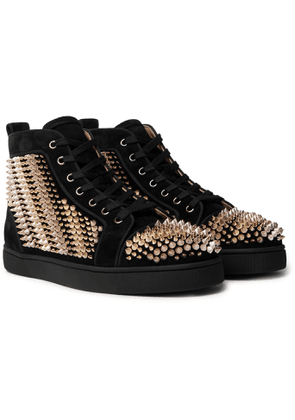 CHRISTIAN LOUBOUTIN - Galvalouis Spikes Suede High-Top Sneakers - Men - Black
