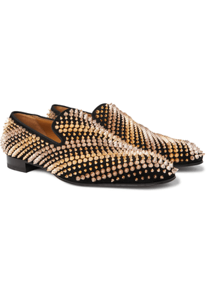 CHRISTIAN LOUBOUTIN - Studded Suede Loafers - Men - Black
