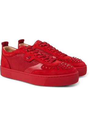 CHRISTIAN LOUBOUTIN - Happyrui Spiked Suede-Trimmed Glittered-Mesh Sneakers - Men - Red