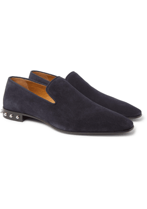 CHRISTIAN LOUBOUTIN - Spiked Suede Loafers - Men - Blue