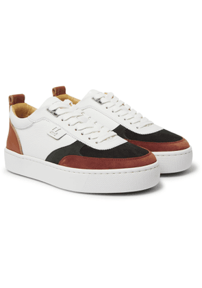 CHRISTIAN LOUBOUTIN - Happyrui Leather, Suede and Glittered Mesh Sneakers - Men - White