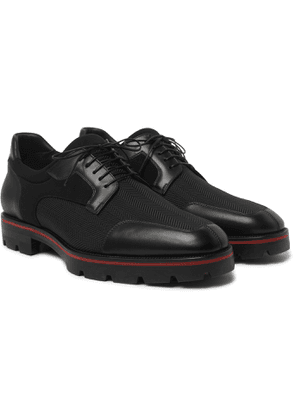 CHRISTIAN LOUBOUTIN - Simon Panelled Leather, Neoprene and Jacquard Derby Shoes - Men - Black
