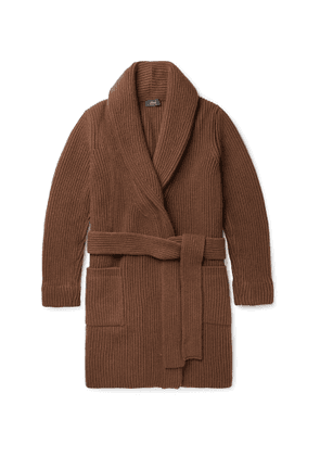 Brioni - Shawl-Collar Belted Ribbed Wool and Cashmere-Blend Cardigan - Men - Brown