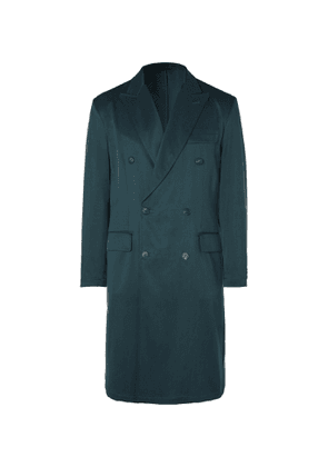 Brioni - Double-Breasted Silk-Twill Overcoat - Men - Blue