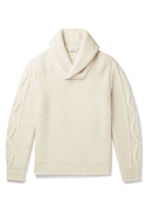Brioni - Slim-Fit Shawl-Collar Cable-Knit Wool and Cashmere-Blend Sweater - Men - Neutrals