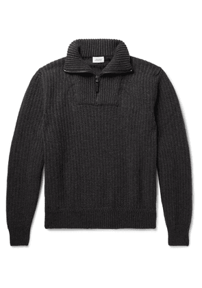 Brioni - Ribbed Wool and Cashmere-Blend Half-Zip Sweater - Men - Gray
