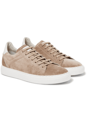 Brunello Cucinelli - Leather-Trimmed Suede Sneakers - Men - Neutrals