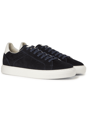 Brunello Cucinelli - Leather-Trimmed Suede Sneakers - Men - Blue