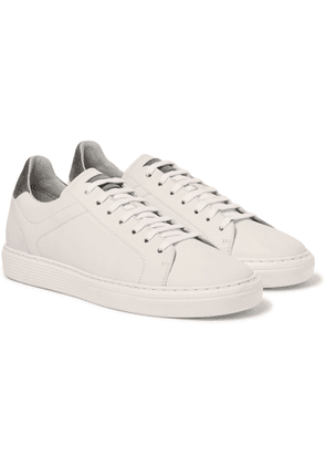Brunello Cucinelli - Suede-Trimmed Leather Sneakers - Men - White