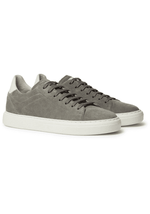 Brunello Cucinelli - Leather-Trimmed Suede Sneakers - Men - Gray