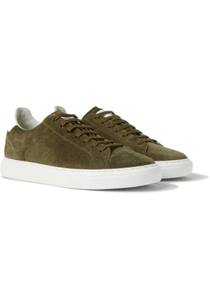 Brunello Cucinelli - Leather-Trimmed Suede Sneakers - Men - Green