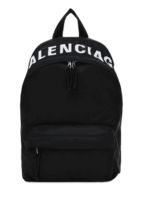 Sm Wheel Logo Print Nylon Backpack