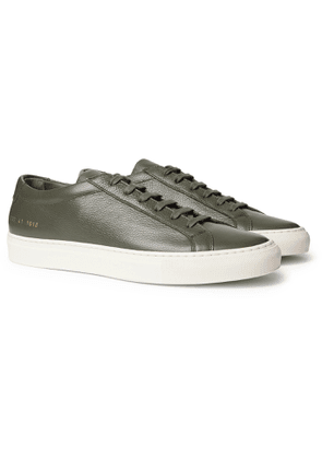 Common Projects - Achilles Pebble-Grain Leather Sneakers - Men - Green